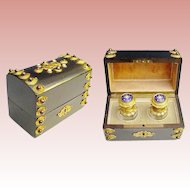 19C French Scent Casket ~ Ebonized  Dome Top Jeweled Scent Casket ~ Twin  Bottles with Jeweled Enamel Top ~ A Large Jeweled Medallion