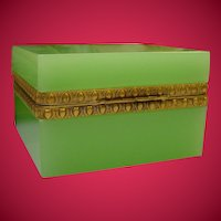 Antique French Green Opaline Square Hinged Box