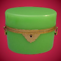"""BIG Antique French Green Opaline Casket Hinged Box  """"FABULOUS Color"""""""