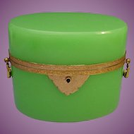 "BIG Antique French Green Opaline Casket Hinged Box  ""FABULOUS Color"""