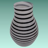 "Fabulous Kosta Boda Art Glass Vase…Black Stripes and White Frosted  ""Artist Signed"""