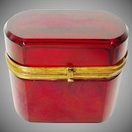 "Antique Bohemian  Red Oval Hinged Box ~  Gilt Mounts and S Clasp "" BEAUTIFUL"""