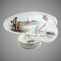 "Antique French Limoges Figural Hand-painted  Fish Set ""FISHERMAN & BOY WITH THE CATCH """