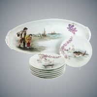 """Antique French Limoges Figural Hand-painted  Fish Set """"FISHERMAN & BOY WITH THE CATCH """""""