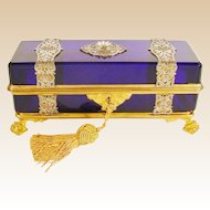 "1880  10 ½""  French Cobalt Casket Hinged Box ""Wrapped in Silver and Gilt Ornate Straps """