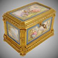 """Antique Sevres Styles Porcelain Bronze Casket """"FIVE PORCELAIN PLAQUES""""  THE BEST!"""