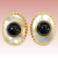 "14KARAT Mother of Pearl & Black Onyx Earring.  ""EXQUISITE & ELEGANT"""