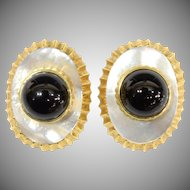 "14KARAT Mother of Pearl & Black Onyx Earring.  ""EXQUISITE & ELEGANT"""