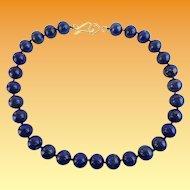 "Estate 16"" 12mm Lapis Lazuli Bead Necklace  ""BEAUTIFUL"""