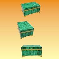 "1850 French Russian Malachite Casket Hinged Jewelry Box ""GRANDEST"""
