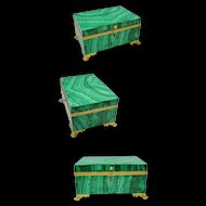 "1850 French Russian Malachite Casket Hinged Jewelry Box ""GRANDEST"""