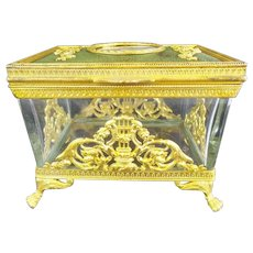 "Antique French Empire Style Portrait Casket  Hinged Box ""Marie Antoinette"""
