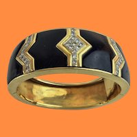Black Onyx and Pave Diamond Bangle Bracelet