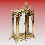 "Antique 34"" French Miniature Bronze Tabletop Curio Vitrine  ""PUTTI"""