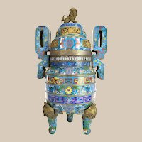 Antique  CHINESE CLOISONNE TRIPOD CENSER  ~ Bronze Foo Dog on top of lid and Four Bronze Foo Dog Heads on the Three Legs