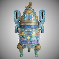 1900 CHINESE CLOISONNE TRIPOD CENSER ~ Elaborate Designs Cover the Body, Handles and Base Extremely Detailed inlay~ Bronze Foo Dog on top of lid and Four Bronze Foo Dog Heads on the Three Legs ~ A Cloisonné Masterpiece