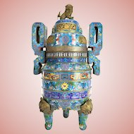 1900 CHINESE CLOISONNE TRIPOD CENSER ~ Elaborate Designs Cover the Body, Handles and Base Extremely Detailed inlay ~ Bronze Foo Dog on top of lid and Four Bronze Foo Dog Heads on the Three Legs ~ A Cloisonné Masterpiece