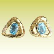 "Beautiful 14KARAT Blue Topaz Hammered Earrings '""STUNNING SHAPE"""