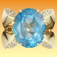 Estate 14KARAT Blue Topaz Diamond Ring