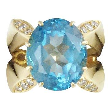 14K  Blue Topaz Diamond Ring ~ Absolutely Beautiful