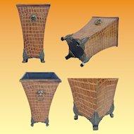 "English Faux Alligator Cachepots Vases   ""Double Handles & Exquisite Foot Base"""