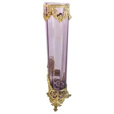 "Antique French Empire Style Lavender Foot Vase "" Exquisite Gilt Ormolu"" - Red Tag Sale Item"