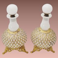 "PAIR Antique French White Opaline Scents Bottles "" STUNNING LACE ORMOLU"""