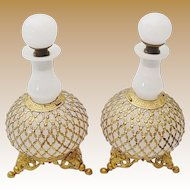 """PAIR Antique French White Opaline Scents Bottles """" STUNNING LACE ORMOLU"""""""