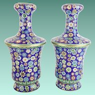 "Magnificent 12 ½"" Chinese Cloisonné  Vases  ""AWESOME COLORS"""