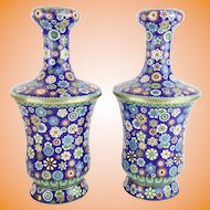"""Magnificent 12 ½"""" Chinese Cloisonné  Vases  """"AWESOME COLORS"""""""