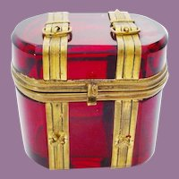 """19C Bohemian Ruby Hinged Box """"Miniature Trunk Shape with Buckle & Straps"""""""