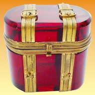 """Antique Bohemian Ruby Hinged Box """"Miniature Trunk Shape with Buckle & Straps"""""""