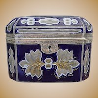 Antique Bohemian Cobalt and White Cut to Clear Casket ~ Beautiful Silver Mounts