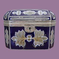 Bohemian Cobalt and White Cut to Clear Casket ~ RARE Silver Mounts