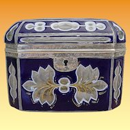 Antique Bohemian Cobalt and White Cut to Clear Casket with Silver Mounts