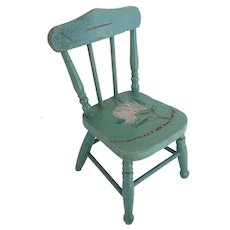 "Antique Painted Doll Miniature Chair ""Paint Loss,Chip, Nips"""