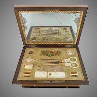 Antique French Musical Palais Royal Sewing Etui Box
