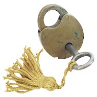 Antique  Brass Lock & Key