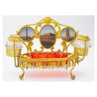 "Palais Royal Inkwell Eglomise Desk Set ""FIVE EGLOMISE S"""