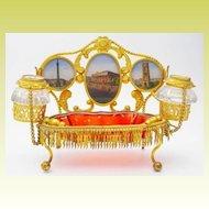 "Palais Royal Inkwell Eglomise Desk Set ""FIVE EGLOMISE S"""
