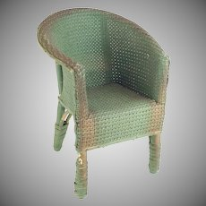 """Antique Doll Painted Wicker Arm Chair """"Adorable Painted Chair"""""""