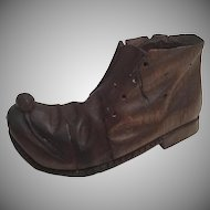 """Antique Carved Shoe with a Mouse on Toe """"Match Holder"""""""