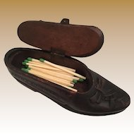 """Antique Carved SHOE Box """"Snuff or Match Box"""""""