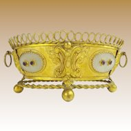 Antique French Jeweled Double Handle Bronze Center Bowl