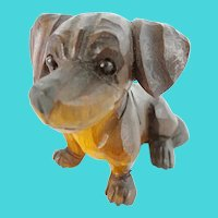 Antique Carved Dog with  Glass Eyes