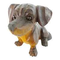 Antique Carved Wood Dog with  Glass Eyes
