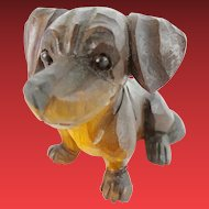 Precious Antique Carved Dog with Glass Eyes.