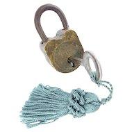 Tiny Antique  Brass Lock &  Key