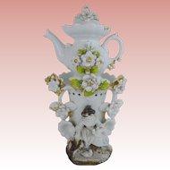 "Antique French Veilleuse Teapot 'BEAUTIFUL"""