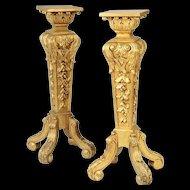 Antique French Carved Gilt Wood  Pedestals Stands